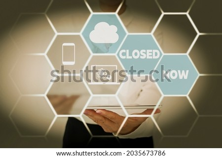Text caption presenting Closed Now. Concept meaning of a business having ceased trading especially for a short period Lady In Uniform Standing Holding Tablet Showing Futuristic Technologies.