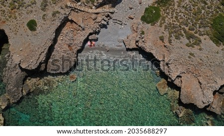 Aerial drone top down photo of small cove and beach near Monemvasia in the heart of Lakonia, Peloponnese, Greece