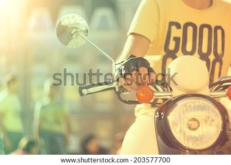 Retro Scooter. Vintage summer background #203577700