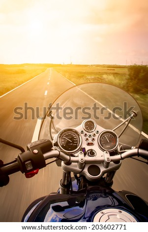 View from a motorcycle on road #203602771