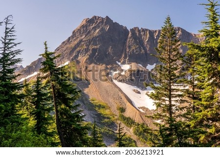 A view of the Cascade Range from Cascade Pass trail at North Cascades National Park.  Royalty-Free Stock Photo #2036213921