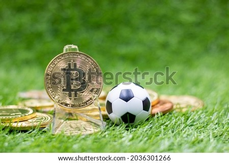 Bitcoin and soccer ball are on green grass for betting concept