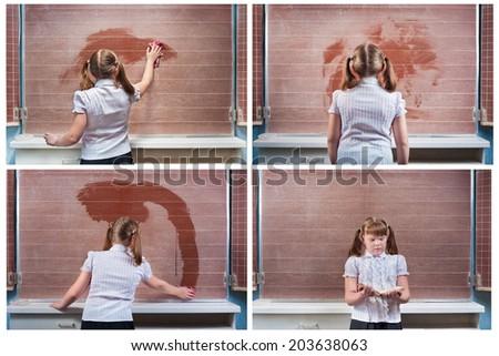collage cute schoolgirl in the classroom at school #203638063