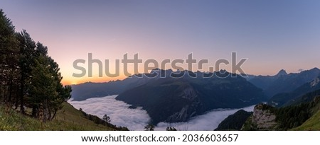 Panoramic view on ossau valley, pyrenees, France at sunrise. pic du midi d'ossau in the background