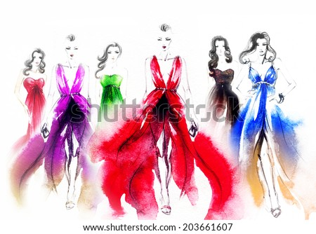 art sketch  of beautiful young woman in  dress.fashion background