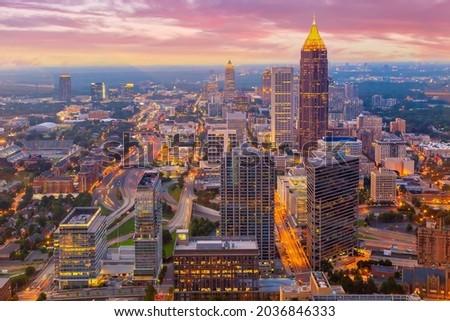 Downtown Atlanta center area skyline cityscape of  USA at twilight Royalty-Free Stock Photo #2036846333