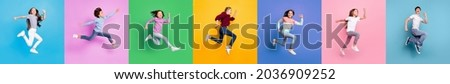 Collage montage photo of different race fun crazy kids boys girls jump run fast isolated over colored background
