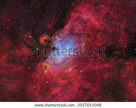 The emission nebula Messier 16 or the Eagle Nebula with the famous Pillars of Creation Royalty-Free Stock Photo #2037011048
