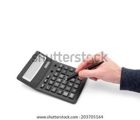 Calculator with hand on white #203705164