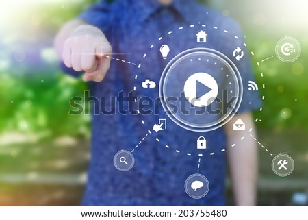 Abstract  concept photo of man touching future technology social network button. Digital touch screen of icon for web, mobile application, iIllustration template, business infographic