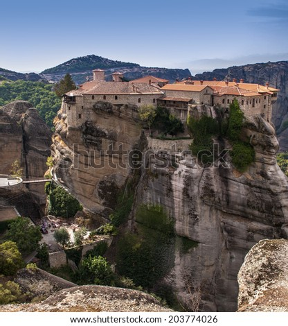 Holy Trinity Monastery in Meteora rocks, meaning suspended into air in Trikala, Greece.  The Meteora is one of the largest and most important complexes of Eastern Orthodox monasteries in Greece #203774026