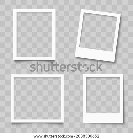Realistic empty photo frame mackup set. Old photo frame collection. Blank retro photo frames with shadows - stock vector Royalty-Free Stock Photo #2038300652