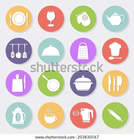 Kitchen tools flat icons #203830567