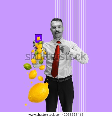 Contemporary art collage of man pointing on tablet screen and doing online grocery shopping isolated over purple background. Tropical fruits flying out phone. Buying food from home, ad