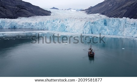 Icy bay Alaska Glacier.  Boat in picture is Star Wars II from bc Canada.
