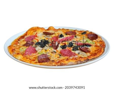 Fresh tasty pizza on white background. Royalty-Free Stock Photo #2039743091