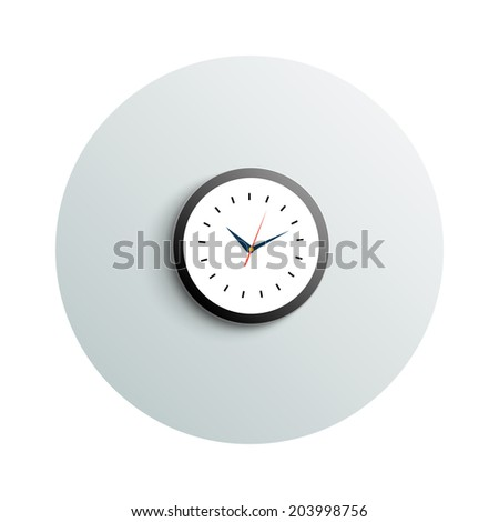 Detailed modern app icon of round office watch business concept on white background. Office and business work elements. Raster version #203998756