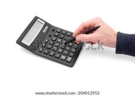 Calculator with hand on white #204012952