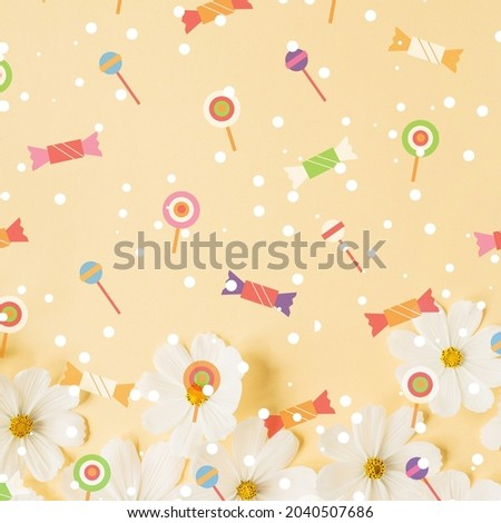 colored candy in pastel snow