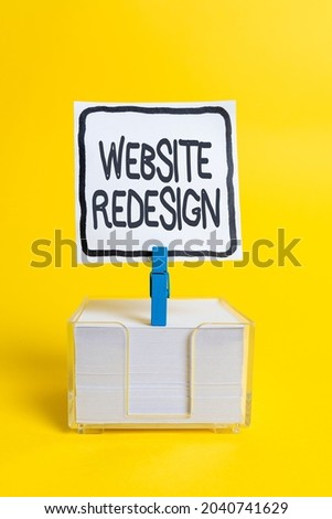 Conceptual caption Website Redesign. Business overview modernize improver or evamp your website s is look and feel Colorful Idea Presentation Displaying Fresh Thoughts Sending Message