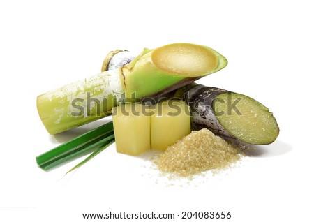 Sugar cane isolated on white background Royalty-Free Stock Photo #204083656