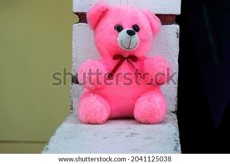 stock photo of beautiful cute furry pink color teddy bear sitting on wall under bright sunlight on blur background.