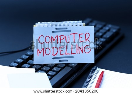 Text sign showing Computer Modelling. Conceptual photo using a computer to make a model of a plan or design Publishing Typewritten Documents Online, Typing Long Term Contract