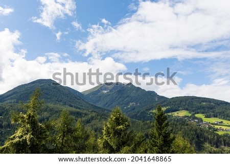 View from the freeway rest area on the Brenner freeway to the mountains near Innsbruck Royalty-Free Stock Photo #2041648865