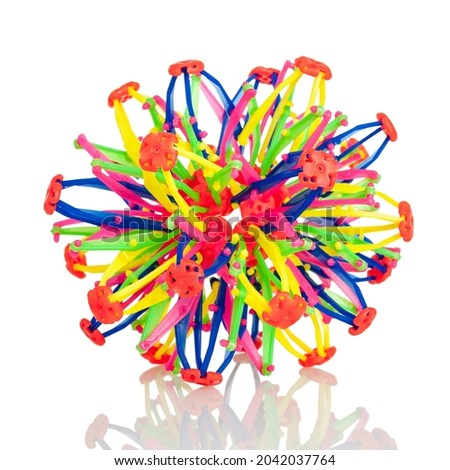 The transformer sphere, the transformer ball or the Hoberman sphere is an expanding and contracting ball, the development of spatial thinking and creative abilities of children Royalty-Free Stock Photo #2042037764