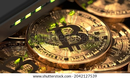 High res, 4K photographs and images of bitcoin, cryptocurrency and investment.