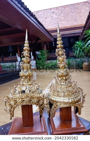 Thai theatrical crown(Headdress) is a headdress shaped like a crown. Royalty-Free Stock Photo #2042330582