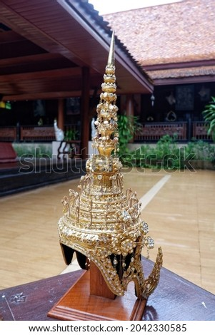 Thai theatrical crown(Headdress) is a headdress shaped like a crown. Royalty-Free Stock Photo #2042330585