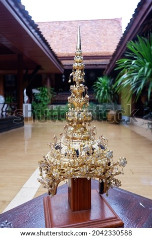 Thai theatrical crown(Headdress) is a headdress shaped like a crown. Royalty-Free Stock Photo #2042330588