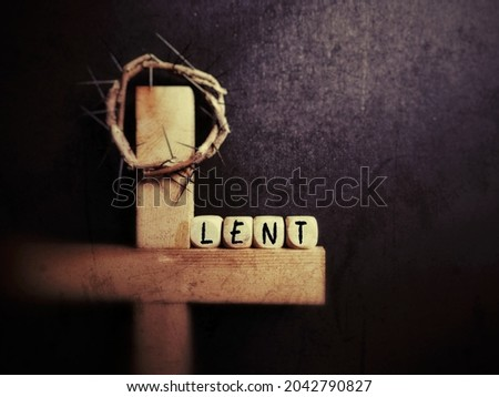 Lent Season,Holy Week and Good Friday concepts - LENT text in purple vintage background. Stock photo.