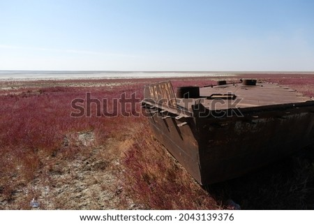 A rusty boat with the Russian letters ZH and the numbers 0012 on the drying Aral Sea.