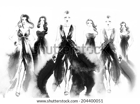 collage.  art sketch  of beautiful young woman in dress