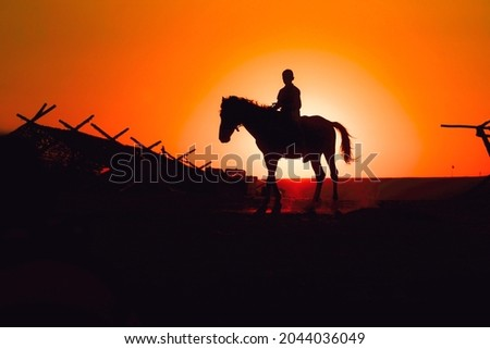 sunset horse and boy. A boy riding a horse and the sunset. horse and boy silhouette.