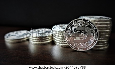 Dash (DASH) is digital cash designed to offer financial freedom to everyone. Payments are instant, easy  secure, with near-zero fees. Royalty-Free Stock Photo #2044095788