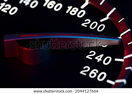 Speed detail with car odometer or tachometer macro shot Royalty-Free Stock Photo #2044127666