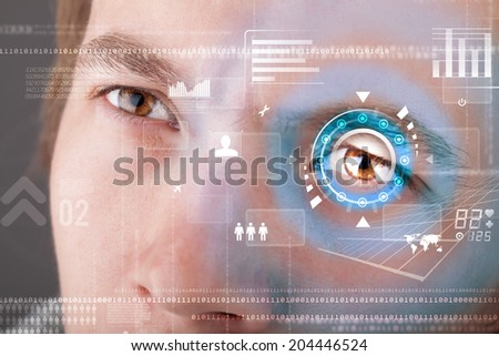 Futuristic modern cyber man with technology screen eye panel concept #204446524