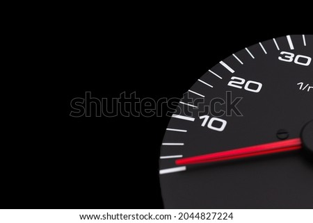 Dashboard with speedometer, tachometer, odometer. Car detailing. Car dashboard. Dashboard details with indication lamps.Car instrument panel.Modern interior.Close up shot.Copy space. Royalty-Free Stock Photo #2044827224