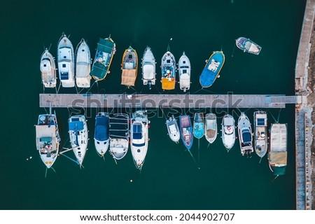Top Down shot on Fishing Boats