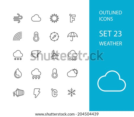 Outline icons thin flat design, modern line stroke style, web and mobile design element, objects and vector illustration icons set 23 - weather collection #204504439
