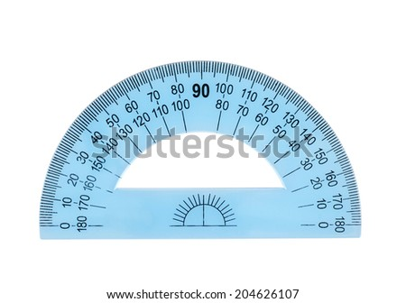 Blue plastic protractor ruler, isolated over the white background