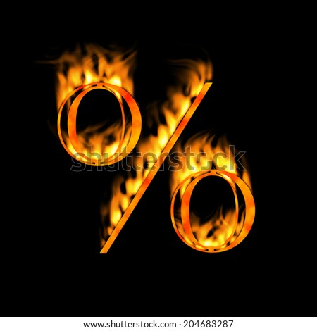 Percent % symbol. Fire alphabet letter isolated on black. Look for more symbols in my gallery. #204683287