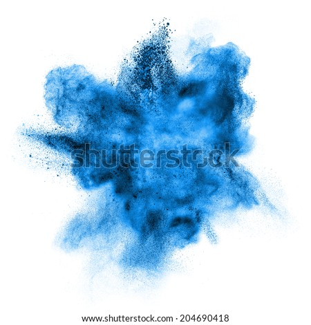 Blue powder explosion isolated on white background Royalty-Free Stock Photo #204690418