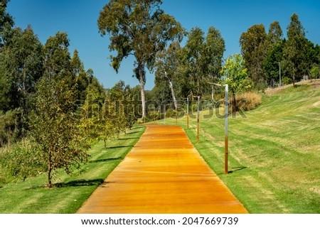 Picturesque footpath along the Burnett river in Gayndah, Queensland, Australia Royalty-Free Stock Photo #2047669739