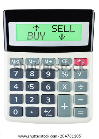 Calculator with BUY SELL on display isolated on white background #204781105
