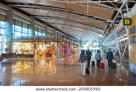 MADRID, SPAIN - MAY 28, 2014: Interior of Madrid airport, departure waiting aria #204805960