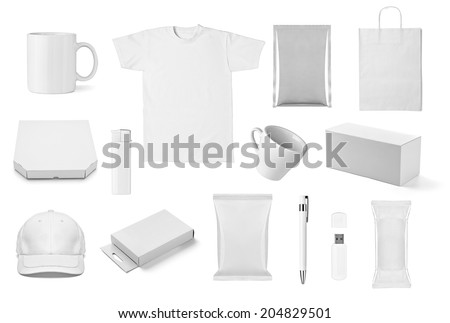 collection of  various white print templates on white background. each one is shot separately #204829501